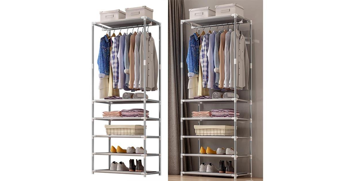 Grey Coat Rack With Shelf, Fyfield Coat Rack With Shelf Storage Baskets White