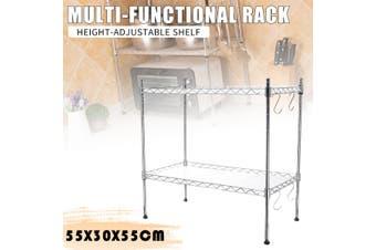 Stainless Steel Microwave Silver Wire Storage Metal Organizer Rack 2 Tier Shelf