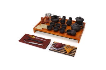 Chinese Kung Fu Tea Set Tea Ceremony Purple Clay Teapot Cup + Wood Tray Gift