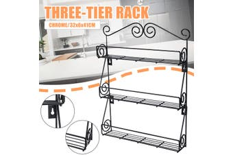 3 Tier Spice Rack Spice Jars Bottle Holder Storage Organizer Shelf Wall Mounted