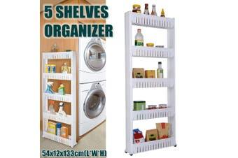 AUGIENB 5 Shelves Laundry Room Organizer, Mobile Shelving Unit Organizer with 5 Large Storage Baskets, Gap Storage Slim Slide Out Pantry Storage Rack