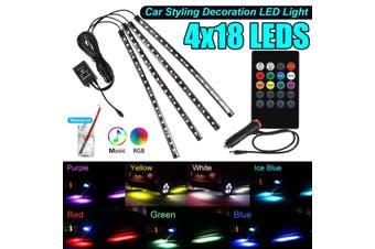 4x 9 / 18LED Car Interior Floor Dash Neon Light 5050SMD LED RGB Strip Light Colorful Lamp Music ,w/ Remote Control & Cigarette Lighter