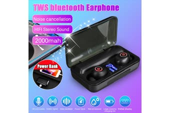 2000Mah TWS Wireless bluetooth Earphone Bilateral Stereo IPX5 Waterproof Headset Noise Reduction Headphone Separate Design Automatic Matching Low Power Consumption Earpods Earbuds