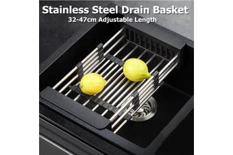Retractable Dish Drainer Rack Storage Drip Tray Sink Drying Holder Plate Shelf