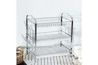 Over Sink Dish Drying Rack Drainer Stainless Steel Kitchen Cutlery Holder