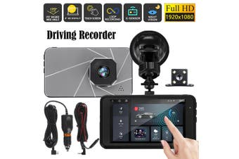 """4"""" HD 1080P Front and Rear Car Camera Montion Detection Dash Cam G-Sensor Video Driving Recorder"""