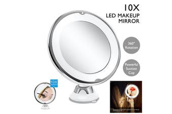 360° Rotating 10X Magnifying Makeup Cosmetic Beauty Bathroom Round Mirrors LED Light Vanity