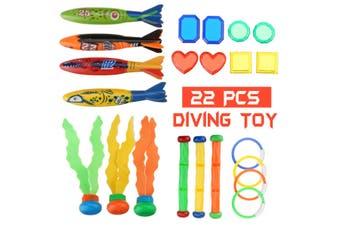 22Pcs Underwater Diving Pool Toy Dive Ring/Torpedo/Sticks Swimming Game Kids