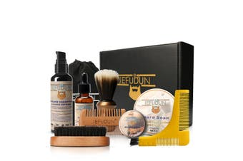 9-in-1 Beard Care Kit for Men Beard Balm Beard Oil Shampoo Beard Comb Brush Beard Shaping Tool Template Grooming Set