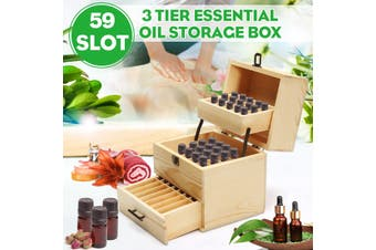 Retro 3 Tier Stores 59 Wooden Storage Box Essential Oil Aromatherapy Container Case Organizer 183x215x237mm
