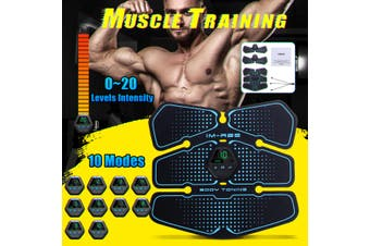 8Pcs Pad ABS Abdominal Exerciser Rechargeable Muscle Training Body Fitness Stimulater LCD Display