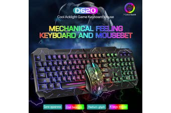 104 Keys Mechanical Feeling Wired Keyboard and Mouse Combo LED Backlit Illuminated Gaming Keyboard and Mouse Set for Windows XP/7/8/10(keyboard only)