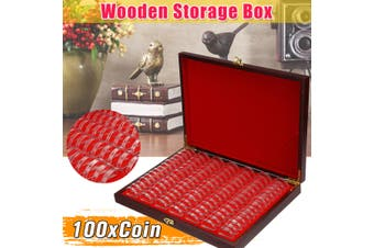 100 Capsules Wooden Coins Storage Box Case Collectible Coin Game Currency Holer(100Pcs)