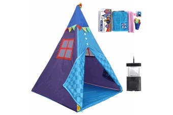 Kids Teepee Play Tent Playhouse Classic Indian Style Play Tent and Carry Box with Camping Lamp Indoor & Outdoor Tent Assemble Tent