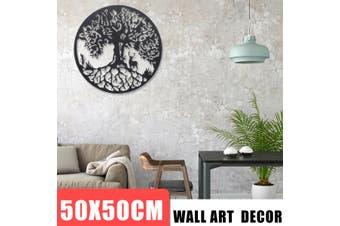"""20"""" Tree of Life Metal Hanging Round Sculpture Livingroom Garden Wall Art Decor"""