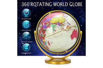360° Rotating World Globe Map Earth Geography World Kids Gift Toy Vintage Style