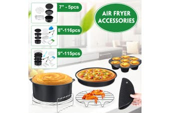 7/8/9'' Air Fryer Frying Cage Dish Baking Pan Rack Pizza Tray Pot Accessories D