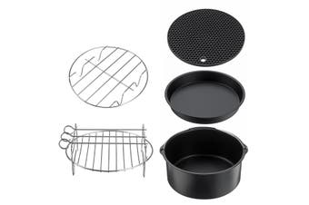 7In Air Fryer Frying Cage Dish Baking Pan Rack Pizza Tray Pot Accessories
