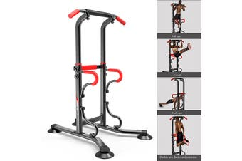 230cm Pull Up Fitness Station 6-Level Adjustable Pull-Up + Push-Up Bars Home Gym Exercise Body Fitness Strength Training Equipment