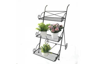 Folding wrought iron floor cart flower stand Wrought iron floor type folding rack European potted rack