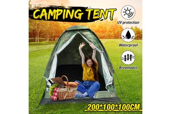 200cm Single Tent Outdoor Single Single Layer Outdoor Camping Tent Waterproof Camping Tent Travel with a Portable Bag for Hiking and Traveling