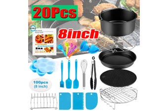"20PCS 8"" Air Fryer Accessories Rack Cake Pizza Oven Barbecue Frying Pan Tray"