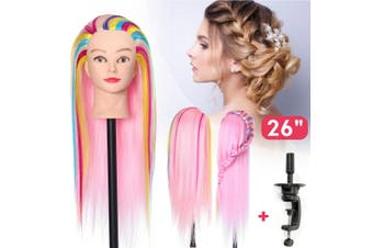 26'' 65cm Colorful Hair Mannequin Hairdressing DIY Practice Training Head Model Doll & Clamp
