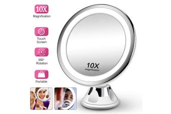 Portable Makeup Mirror Light 10x Magnifying LED Touch Screen 360° Rotation Adjustable Magnification Shaving Home Bathroom Desktop with Suction Cup