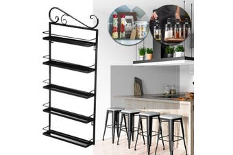 5 Tiers Kitchen Rack Storage Condiments Spices Jar Bottle Organizer Shelf Holder
