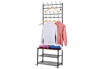 150cm Multi-functional Metal Coat Hat Rack Stand Clothes Stand With Hooks Shoes Rack for Entryway