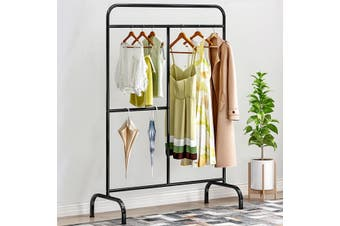 Heavy Duty Black Garment Rail Clothes Home Shop Hanging Display Portable Rack