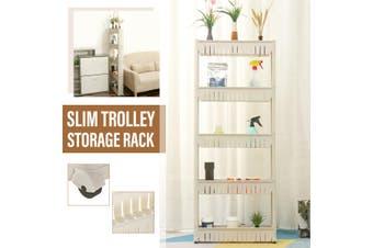 5 Tier Removable Kitchen Trolley Rack Holder Storage Shelf Organizer Wheels T