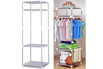 3 Tier Wire Shelves Garment Rack Garment Closet for Hanging Clothes and Storage