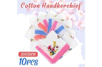 10Pcs Vintage Cotton Handkerchief Women Absorbent 11.8x11.8'' Men Suit Pocket Towel
