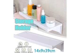 Bathroom Shelf Kitchen Storage Wall Mounted Suction Cup Shelf Mobile Phone Holder Rack 39x14cm