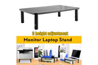 Monitor Laptop Stand Riser 3 Levels Height Adjustable Computer PC Printer Desktop Riser Stand with Mesh