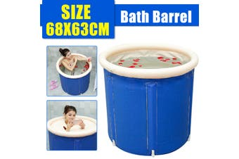 Folding Portable Bathtub PVC Water Tub Intdoor Room Adult Spa Bath 250L Blue