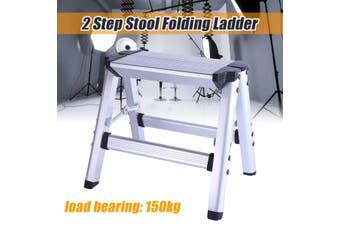 150KG Maximum Load 2 Step Stool Folding Ladder Anti Slip Safety Aluminium P