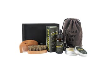 Men Natural Boar Bristle Beard Brush and Mustache Comb Kit