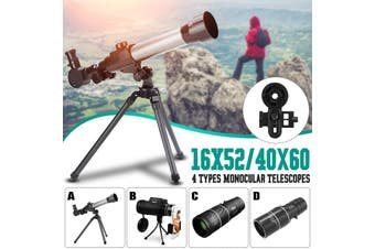 HD Night Protable Monocular Telescopes Vision Astronomical Telescope Refractor Finder Scope 4 Types Or 1 PC Connect Phone and Telescope Holder