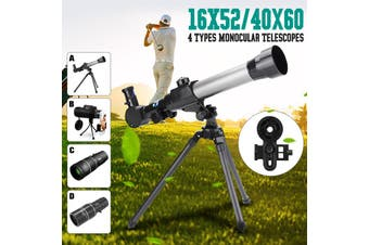 Kids Monocular Telescope Scope with Adjustable Tripod Adapter w/2 Eyepieces AU