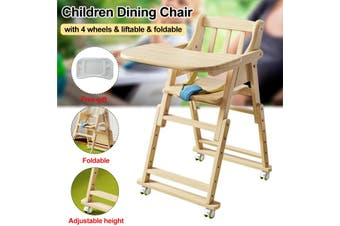6 Months Children Dining Chair Baby Chair With 4 Wheels 4 Gear Height Adjustment