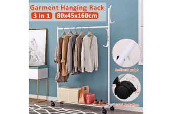 Heavy Duty Clothes Hanger Hanging Display Rolling Garment Rack Coat Rail Stand Multi Purpose Hanger With wheel Black-- 81.5x18x5cm