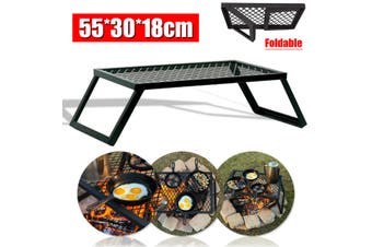 Portable Campfire Grill Grate Camping BBQ Cooking Open Over Fire Outdoor Folding