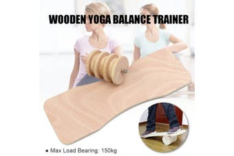Wooden Balance Trainer Board Yoga Home Gym Non-Slip Fitness Exercise Roller