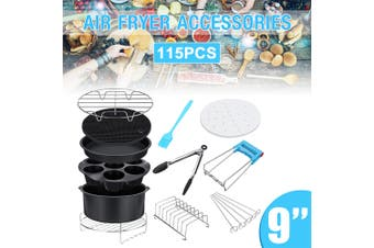 115pcs 9in Air Fryer Accessories Cooking Baking Set Dish Pan Rack For 5.2-6.8QT