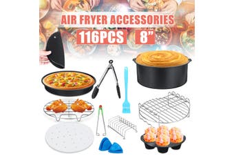 116pcs 8in Air Fryer Accessories Cooking Baking Set Dish Pan Rack For 5.2-5.8QT