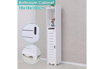 18x18x100cm Bathroom Cabinet Floor-Standing Bathroom Toilet Furniture Cabinet White Wood-Plastic Board Cupboard Shelf