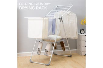 Folding Iron Clothes Drying Rack Indoor Outdoor Laundry Storage Dryer Hanger