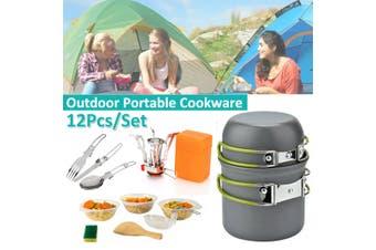 12Pcs Portable 2-3 Person Outdoor Cookware Set Hiking Camping Pots Frying Pan Kettle Bowl Set